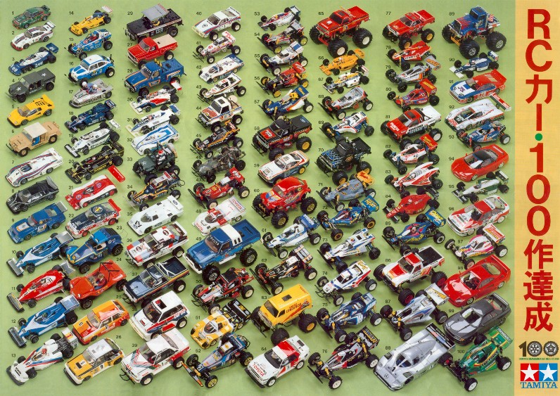 Tamiya's first 100 RC Cars!  Click to see larger image